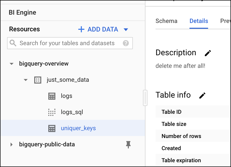 BigQuery interface overview